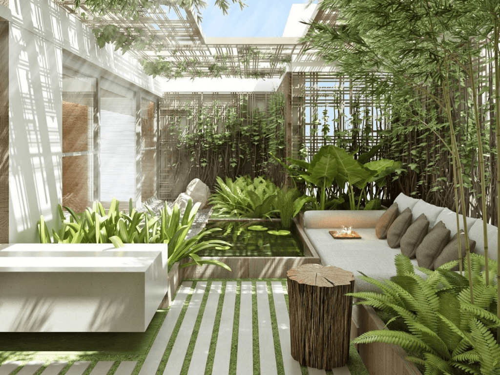 Desain Taman Indoor dengan kaca